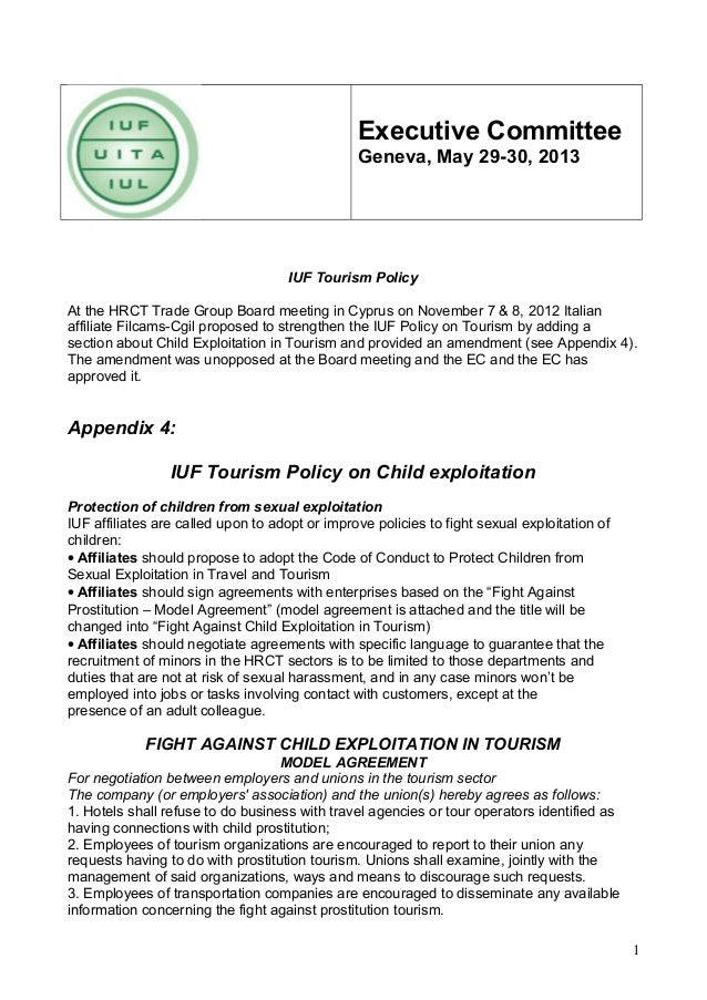 Executive Committee Geneva, May 29-30, 2013  IUF Tourism Policy At the HRCT Trade Group Board meeting in Cyprus on Novembe...