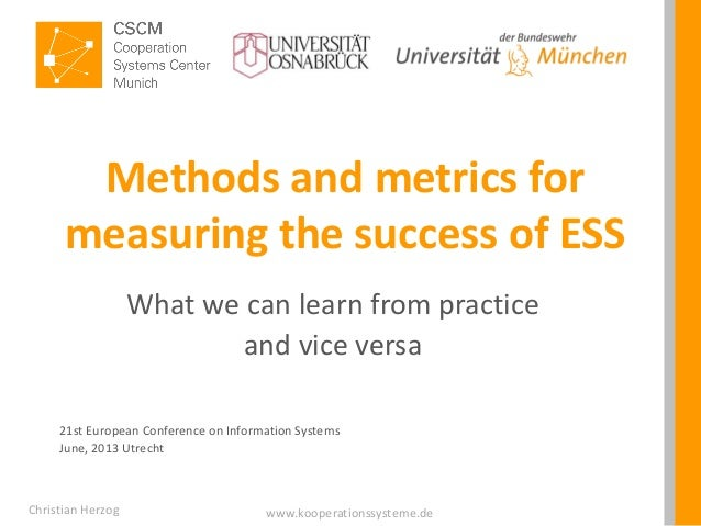 www.kooperationssysteme.deMethods and metrics formeasuring the success of ESSWhat we can learn from practiceand vice versa...