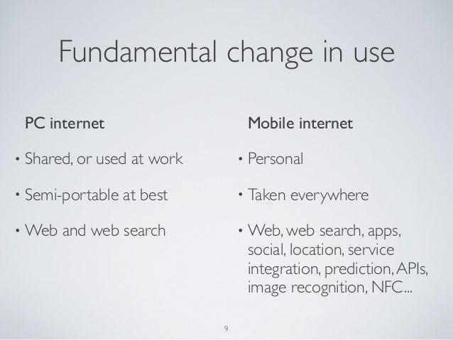 Fundamental change in usePC internet• Shared, or used at work• Semi-portable at best• Web and web searchMobile internet• P...