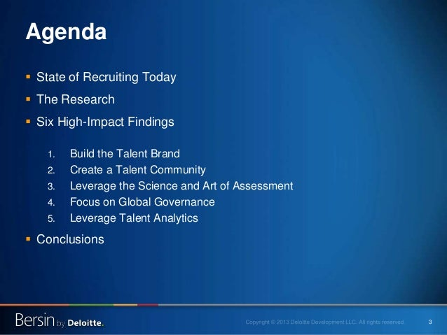 3 Agenda  State of Recruiting Today  The Research  Six High-Impact Findings 1. Build the Talent Brand 2. Create a Talen...