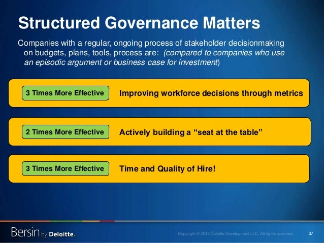 37 Structured Governance Matters Companies with a regular, ongoing process of stakeholder decisionmaking on budgets, plans...