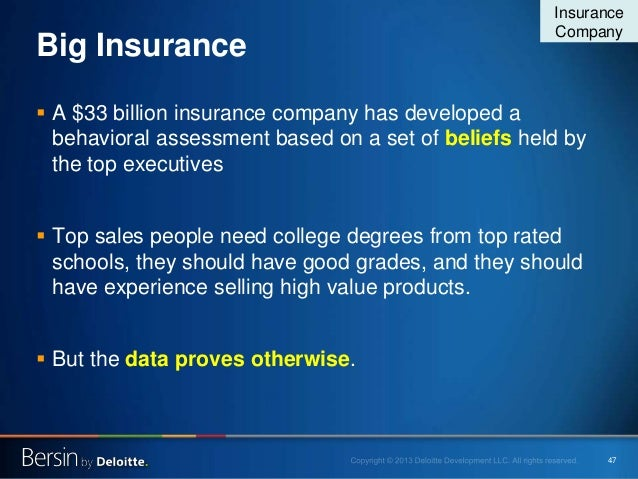 47 Big Insurance  A $33 billion insurance company has developed a behavioral assessment based on a set of beliefs held by...