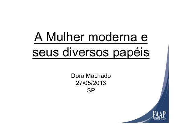 A Mulher moderna eseus diversos papéisDora Machado27/05/2013SP