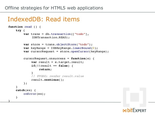 Up close and personal with HTML5 IndexedDB