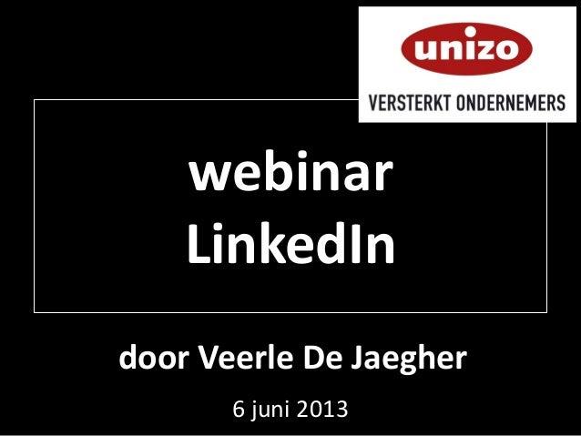 6 juni 2013webinarLinkedIndoor Veerle De Jaegher