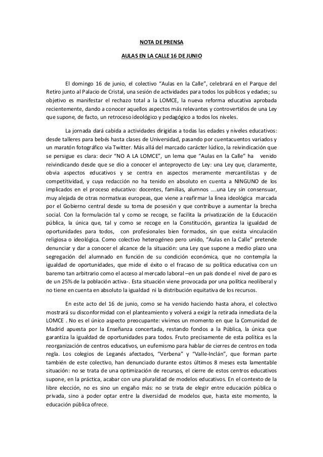 """NOTA DE PRENSAAULAS EN LA CALLE 16 DE JUNIOEl domingo 16 de junio, el colectivo """"Aulas en la Calle"""", celebrará en el Parqu..."""