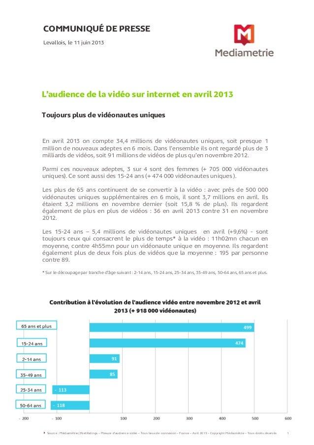 COMMUNIQUÉ DE PRESSEL'audience de la vidéo sur internet en avril 2013Toujours plus de vidéonautes uniquesLevallois, le 11 ...