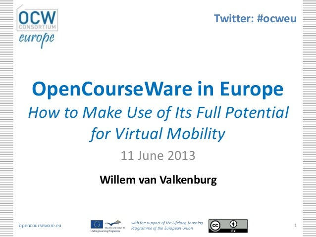 opencourseware.euwith the support of the Lifelong LearningProgramme of the European Union1OpenCourseWare in EuropeHow to M...