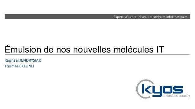 Expert sécurité, réseau et services informa4ques Émulsion de nos nouvelles molécules IT Raphaël  JENDRYSIAK   Tho...