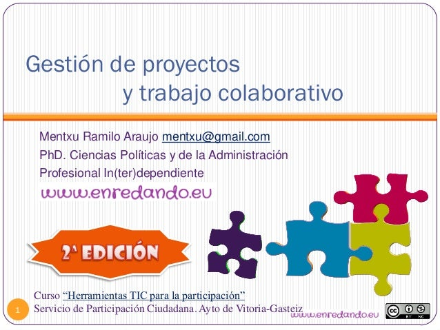 Gestión de proyectosy trabajo colaborativo1Mentxu Ramilo Araujo mentxu@gmail.comPhD. Ciencias Políticas y de la Administra...