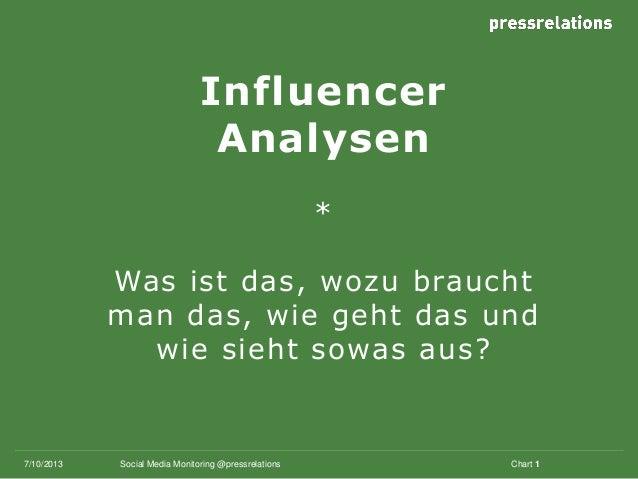 Influencer Analysen * Was ist das, wozu braucht man das, wie geht das und wie sieht sowas aus? 7/10/2013 Chart 1Social Med...