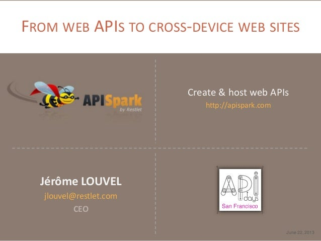 FROM WEB APIS TO CROSS-DEVICE WEB SITES Create & host web APIs http://apispark.com June 22, 2013 Jérôme LOUVEL jlouvel@res...