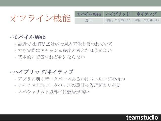 オフライン機能 • モバイルWeb • 最近ではHTML5対応で対応可能と言われている • でも実際はキャッシュ程度と考えたほうがよい • 基本的に苦労すれど身にならない • ハイブリッド/ネイティブ • アプリに別のデータベースあるいはストレ...
