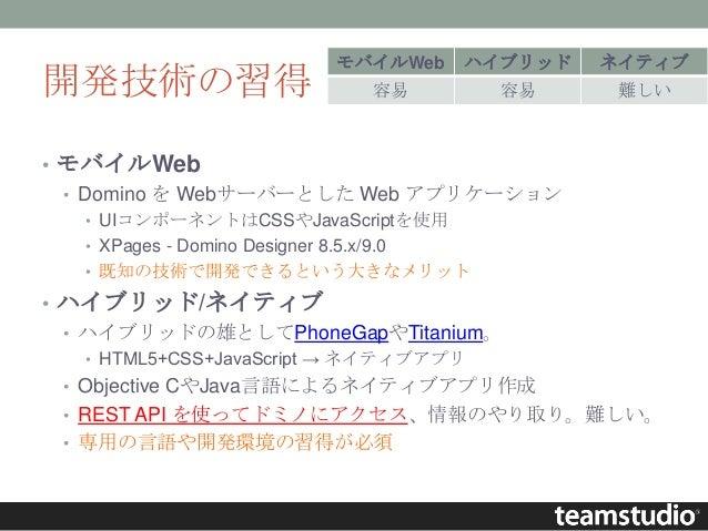 開発技術の習得 • モバイルWeb • Domino を Webサーバーとした Web アプリケーション • UIコンポーネントはCSSやJavaScriptを使用 • XPages - Domino Designer 8.5.x/9.0 • ...
