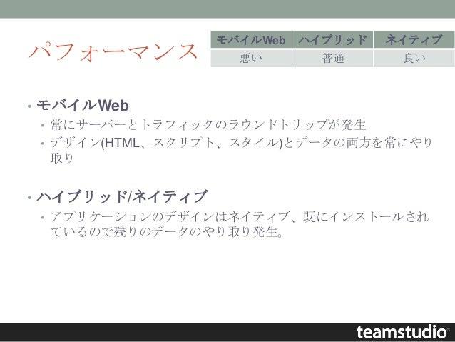 パフォーマンス • モバイルWeb • 常にサーバーとトラフィックのラウンドトリップが発生 • デザイン(HTML、スクリプト、スタイル)とデータの両方を常にやり 取り • ハイブリッド/ネイティブ • アプリケーションのデザインはネイティブ、...