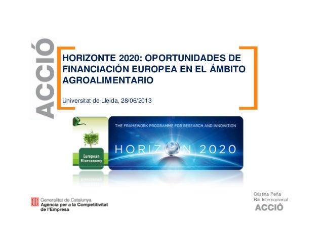 HORIZONTE 2020: OPORTUNIDADES DE FINANCIACIÓN EUROPEA EN EL ÁMBITO AGROALIMENTARIO Universitat de Lleida, 28/06/2013 Crist...