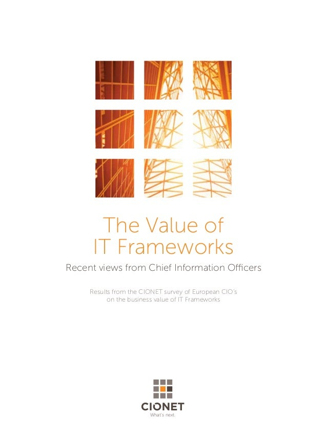 The Value ofIT FrameworksRecent views from Chief Information OfficersResults from the CIONET survey of European CIO'son th...