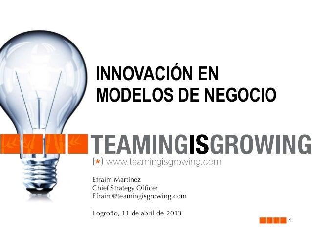 INNOVACIÓN EN MODELOS DE NEGOCIO  Efraim Martínez Chief Strategy Officer Efraim@teamingisgrowing.com Logroño, 11 de abril ...