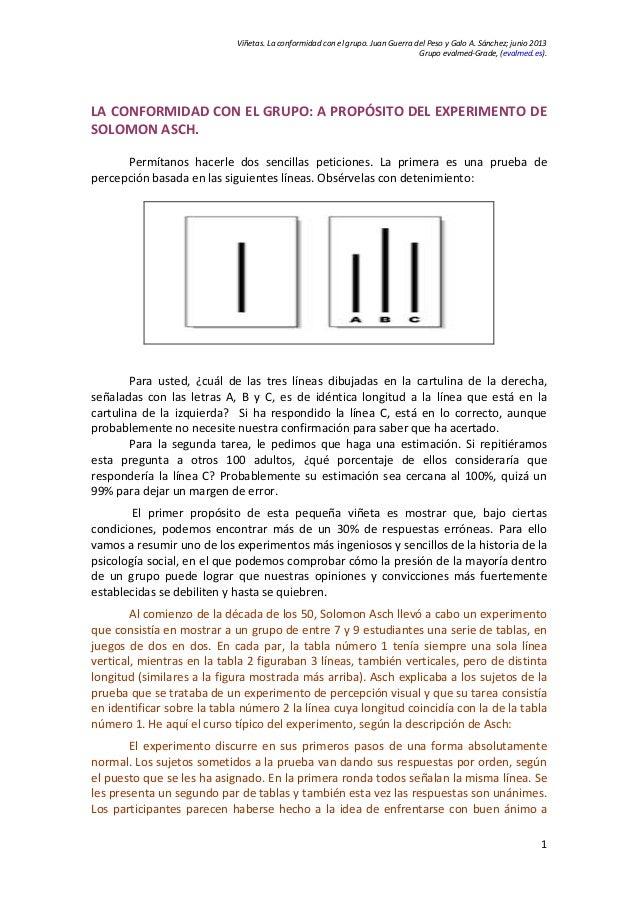 Viñetas. La conformidad con el grupo. Juan Guerra del Peso y Galo A. Sánchez; junio 2013 Grupo evalmed-Grade, (evalmed.es)...