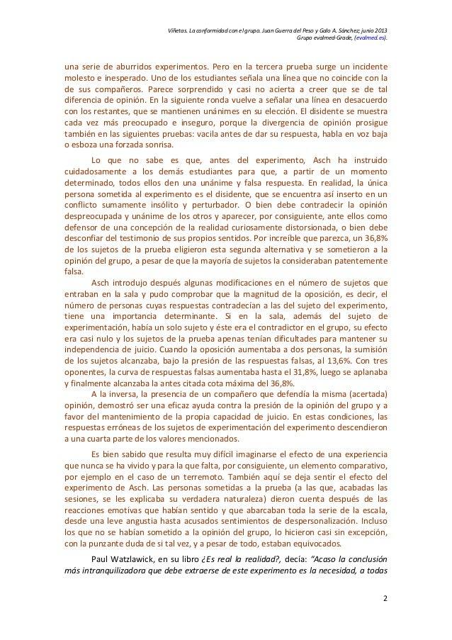 20130703 conformidad con el grupo. el experimento de asch Slide 2