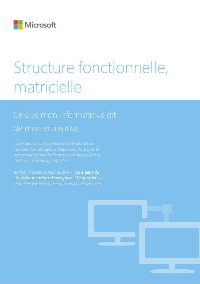 Structure fonctionnelle, matricielle Ce que mon informatique dit de mon entreprise «Le Réseau Social d'Entreprise (RSE) p...