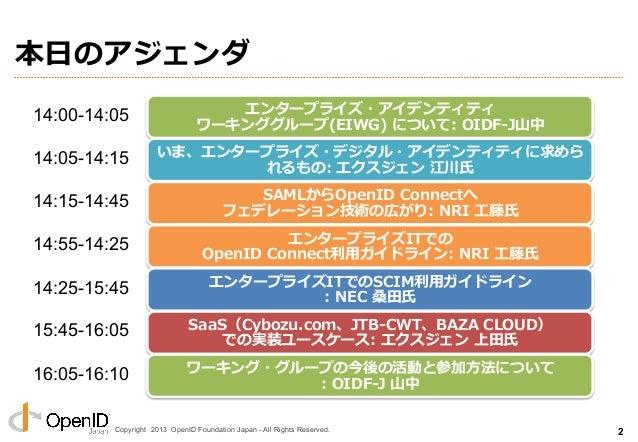 Copyright 2013 OpenID Foundation Japan - All Rights Reserved. エンタープライズ・アイデンティティ・ ワーキンググループ(EIWG) とは n 主体: l OIDF-JとJNS...