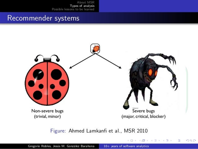 About MSR Types of analysis Possible lessons to be learned Recommender systems Figure: Ahmed Lamkanfi et al., MSR 2010 Greg...