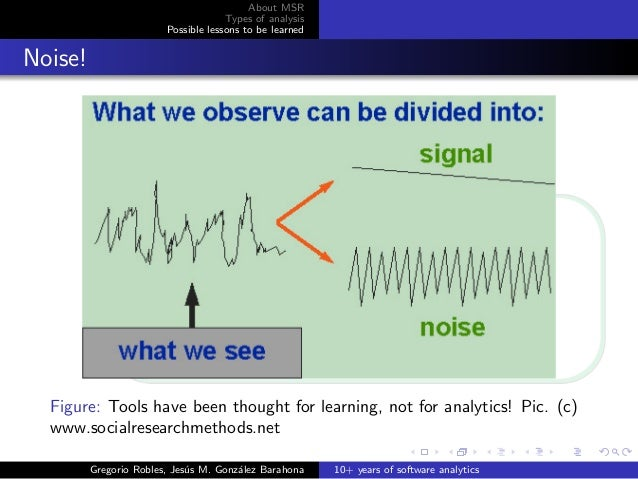 About MSR Types of analysis Possible lessons to be learned Noise! Figure: Tools have been thought for learning, not for an...