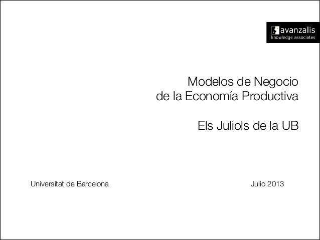 Modelos de Negocio de la Economía Productiva  Els Juliols de la UB Universitat de Barcelona Julio 2013