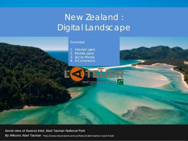 New Zealand : Digital Landscape Overview 1. Internet users 2. Mobile users 3. Social Media 4. E-Commerce http://www.newzea...