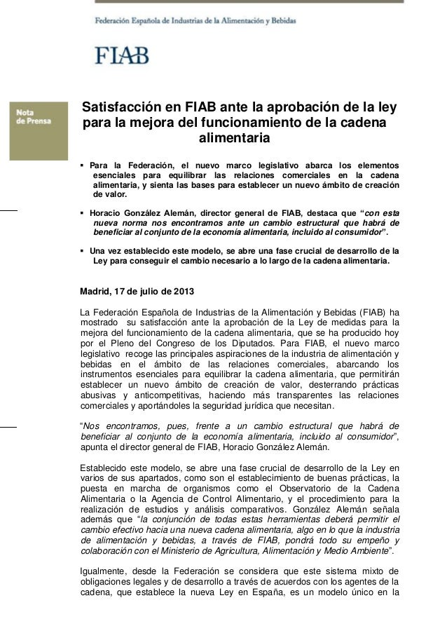 Satisfacción en FIAB ante la aprobación de la ley para la mejora del funcionamiento de la cadena alimentaria  Para la Fed...