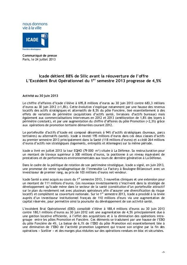 -1- Communiqué de presse Paris, le 24 juillet 2013 Icade détient 88% de Silic avant la réouverture de l'offre L'Excédent B...
