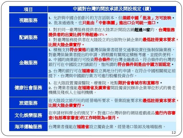 項目 中國對台灣的開放承諾及開設規定 (續) 視聽服務 1. 允許與中國合拍影片的方言話版本,但須經中國「批准」方可放映。 2. 批准通過後,也只能由「中影集團」進出口公司統一進口。 配銷服務 1. 對於同一臺灣服務提供者在大陸累計開設店鋪超過...