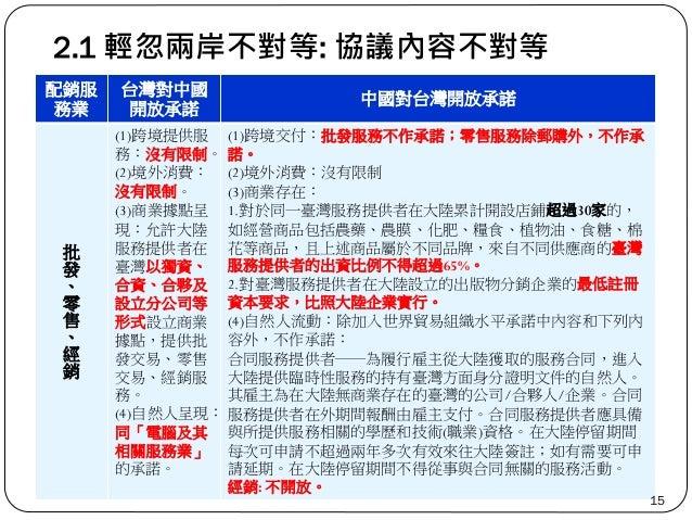 2.1 輕忽兩岸不對等: 協議內容不對等 配銷服 務業 台灣對中國 開放承諾 中國對台灣開放承諾 批 發 、 零 售 、 經 銷 (1)跨境提供服 務:沒有限制。 (2)境外消費: 沒有限制。 (3)商業據點呈 現:允許大陸 服務提供者在 臺灣...