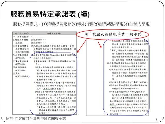 服務貿易特定承諾表 (續) 7附註:內容摘自台灣對中國的開放承諾 服務提供模式:(1)跨境提供服務(2)境外消費(3)商業據點呈現(4)自然人呈現 同「電腦及相關服務業」的承諾