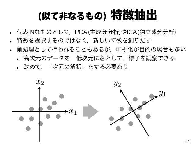 (似て非なるもの) 特徴抽出 • 代表的なものとして,PCA(主成分分析)やICA(独立成分分析) • 特徴を選択するのではなく,新しい特徴を創りだす • 前処理として行われることもあるが,可視化が目的の場合も多い • 高次元のデータを,低次元...
