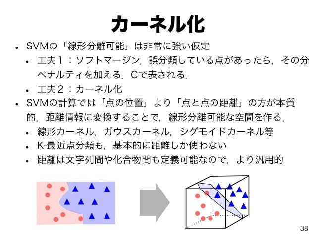 カーネル化 • SVMの「線形分離可能」は非常に強い仮定 • 工夫1:ソフトマージン.誤分類している点があったら,その分 ペナルティを加える.Cで表される. • 工夫2:カーネル化 • SVMの計算では「点の位置」より「点と点の距離」の方が本質...