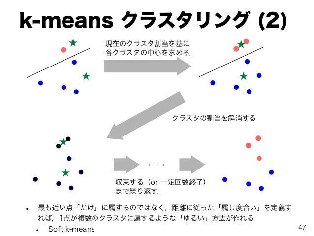 k-means クラスタリング (2) • 最も近い点「だけ」に属するのではなく,距離に従った「属し度合い」を定義す れば,1点が複数のクラスタに属するような「ゆるい」方法が作れる • Soft k-means 現在のクラスタ割当を基に, 各ク...