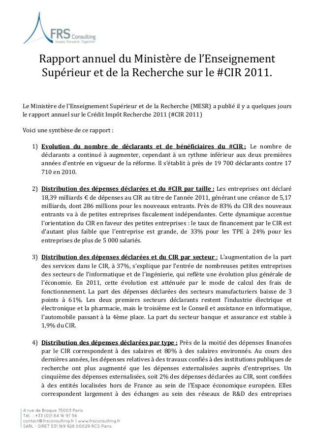 note de synth u00e8se sur le rapport annuel  cir 2011 du mesr