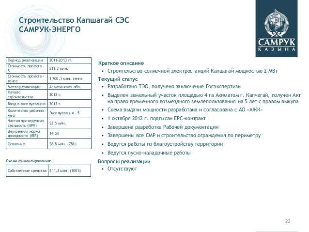 22 Строительство Капшагай СЭС САМРУК-ЭНЕРГО Краткое описание • Строительство солнечной электростанций Капшагай мощностью 2...