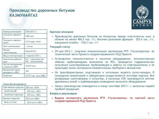 6 Производство дорожных битумов КАЗМУНАЙГАЗ Период реализации 2010–2013 гг. Стоимость проекта - $ $290 млн. Стоимость прое...
