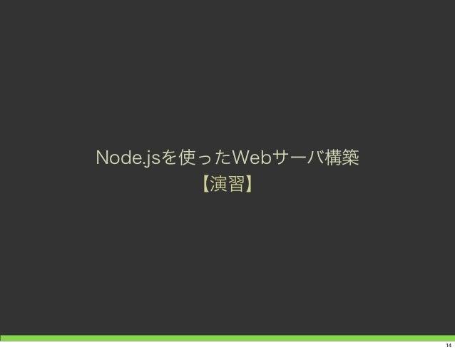Node.jsを使ったWebサーバ構築 【演習】 14