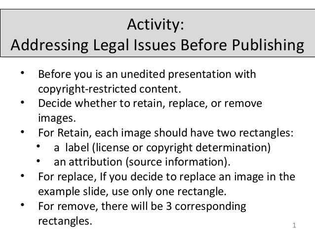 Activity: Addressing Legal Issues Before Publishing 1 • Before you is an unedited presentation with copyright-restricted c...