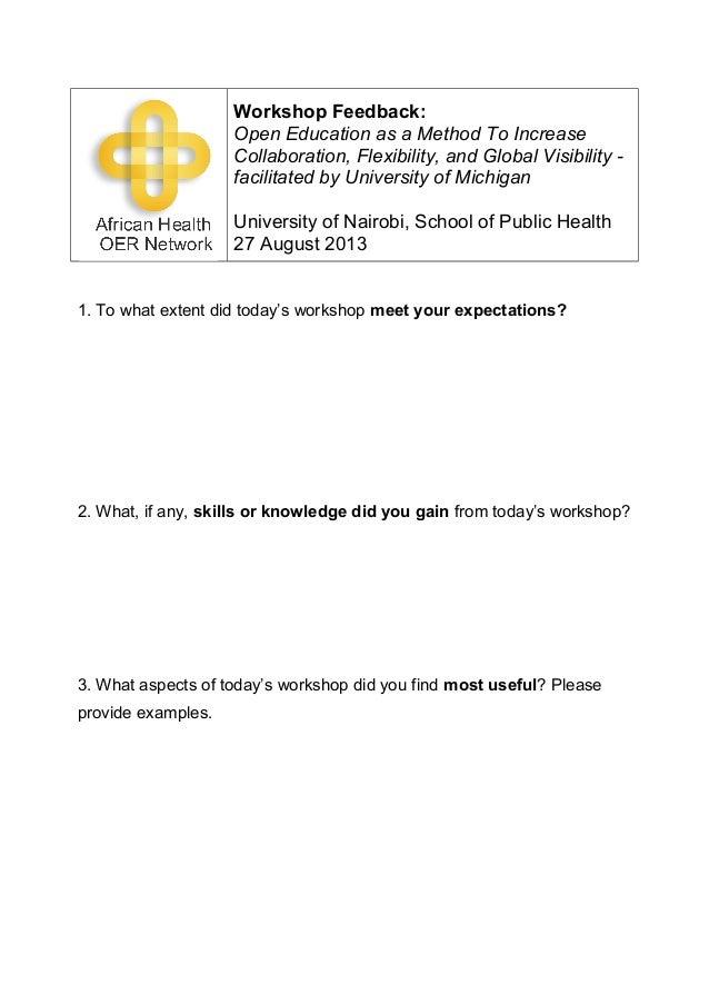UON SPH OER Workshop Feedback Form