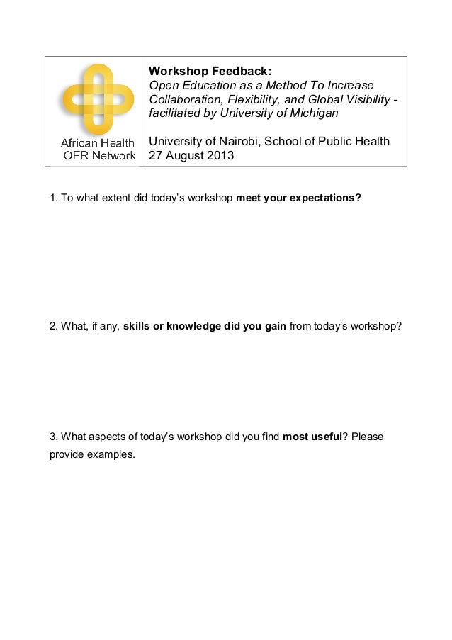 UON SPH OER Workshop Feedback Form