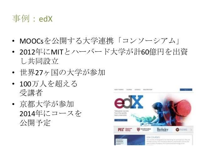 事例:edX • MOOCsを公開する大学連携「コンソーシアム」 • 2012年にMITとハーバード大学が計60億円を出資 し共同設立 • 世界27ヶ国の大学が参加 • 100万人を超える 受講者 • 京都大学が参加 2014年にコースを 公開...