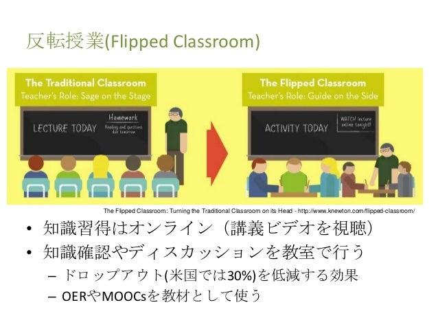 反転授業(Flipped Classroom) • 知識習得はオンライン(講義ビデオを視聴) • 知識確認やディスカッションを教室で行う – ドロップアウト(米国では30%)を低減する効果 – OERやMOOCsを教材として使う The Fli...