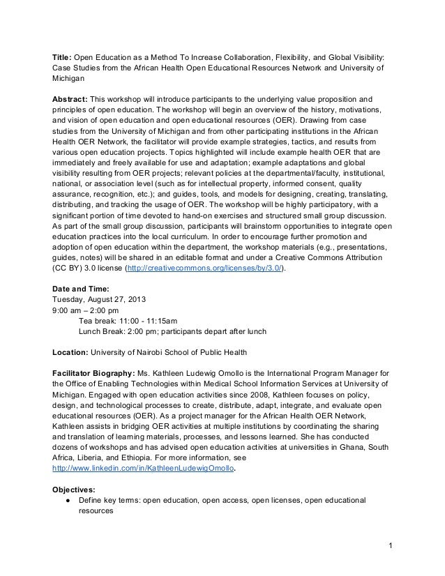 Title: Open Education as a Method To Increase Collaboration, Flexibility, and Global Visibility: Case Studies from the Afr...