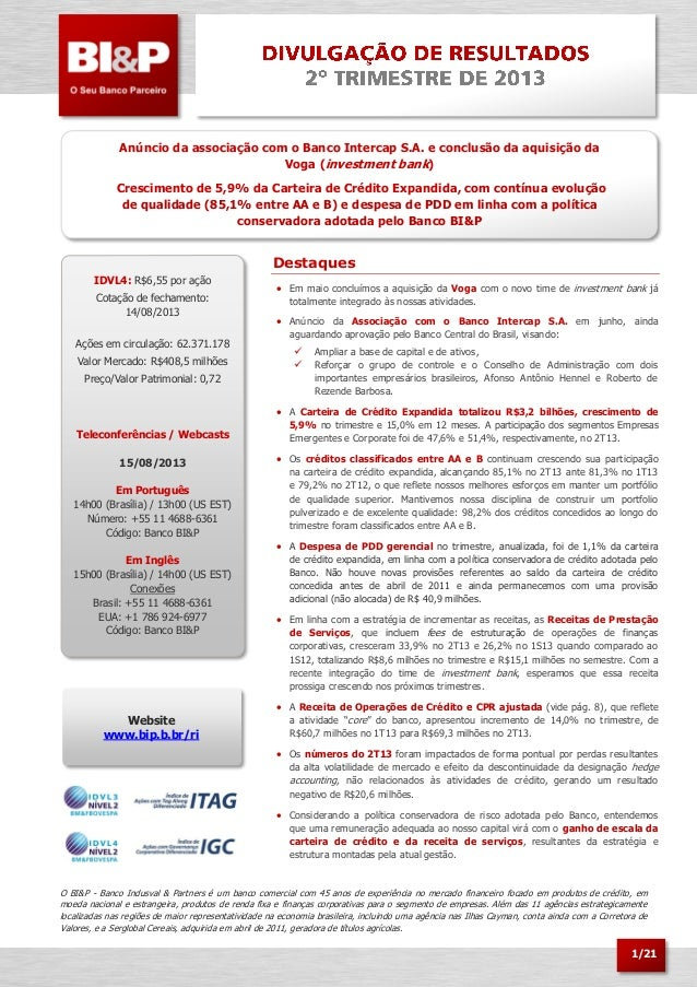 1/21 Anúncio da associação com o Banco Intercap S.A. e conclusão da aquisição da Voga (investment bank) Crescimento de 5,9...