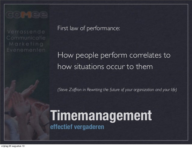 First law of performance: How people perform correlates to how situations occur to them (Steve Zaffron in Rewriting the fu...